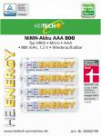 "Akku HEITECH ""Ready to Use"" HR03 800 mAh AAA Micro 4er Blister"