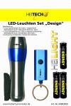 """HEITECH ALU LED-Leuchten Set """"Design"""" Taschenlampe + Schlüssellicht + Batterien silber/blau"""