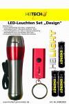 """HEITECH ALU LED-Leuchten Set """"Design"""" Taschenlampe + Schlüssellicht + Batterien silber/rot"""