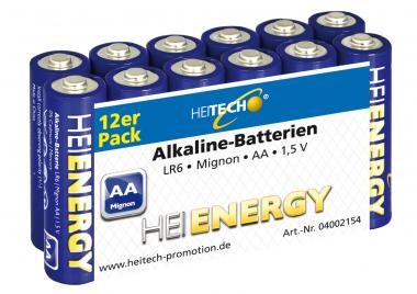 Heitech Alkaline Batterien LR6 MN1500 Mignon/AA 12er Pack