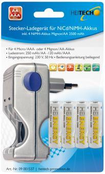 Stecker-Ladegerät für NiCd + NiMH Akkus für 4 x Micro/AAA oder 4 x Mignon/AA mit 4 Akkus Mignon/AA 2500 mAh