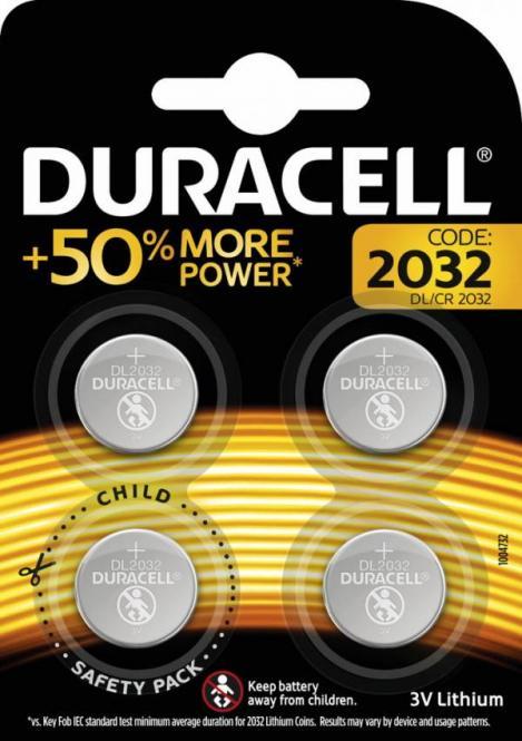Knopfzelle DURACELL Lithium DL2032 CR2032 4er Blister