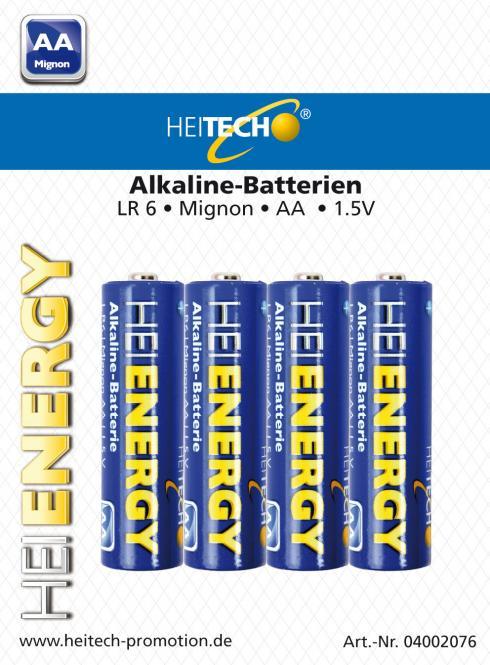Heitech Alkaline Batterien LR6 MN1500 Mignon/AA 4er Blister