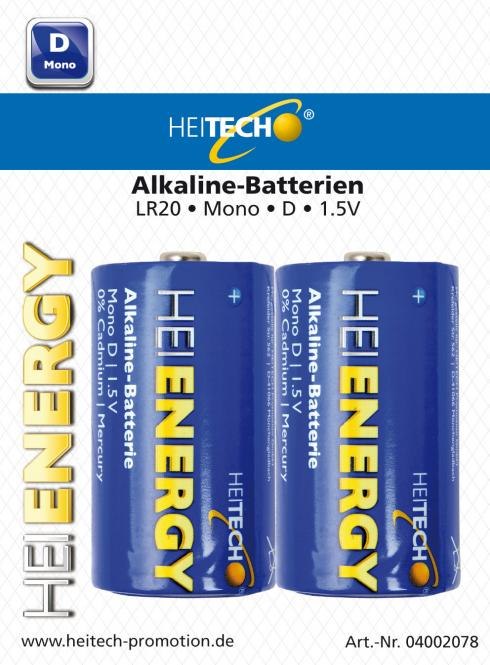 Heitech Alkaline Batterien LR20 MN1300 Mono/D 2er Blister