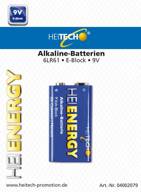 Heitech Alkaline Batterien 6LR61 MN1604 9V-Block/E 1er Blister