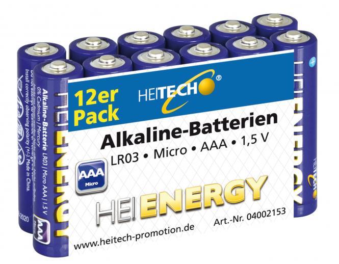Heitech Alkaline Batterien LR03 MN2400 Micro/AAA 12er Pack