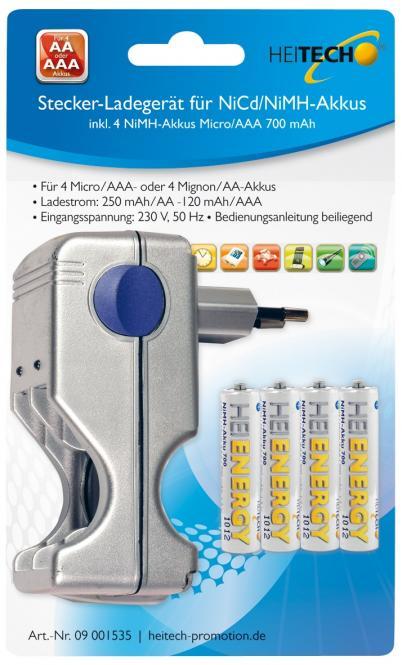 Stecker-Ladegerät für NiCd + NiMH Akkus für 4 x Micro/AAA oder 4 x Mignon/AA mit 4 Akkus Micro/AAA 800 mAh